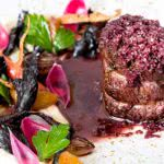 Bison Tenderloin with Roasted Vegetables and Shallot Red Wine Sauce