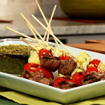 Bison Skewers with Pesto Dipping Sauce