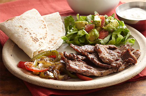 bison-fajitas-with-guacamole-salad-and-pico-de-gallo