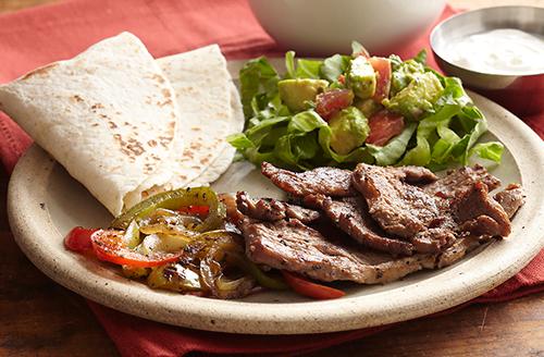 bison-fajitas-with-guacamole-salad-and-pico-de-gallo