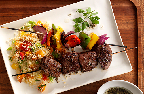 bison-sirloin-steak-and-vegetable-kabobs-with-couscous-salad