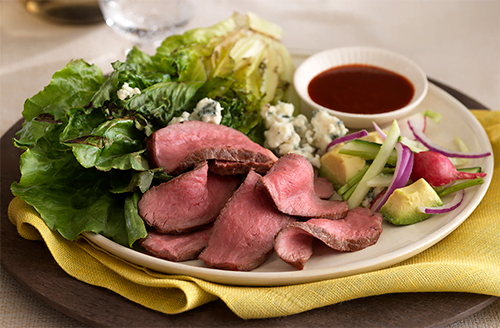 Grilled Bison with Charred Romaine
