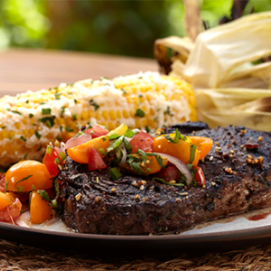 Bison Ribeye with Pico de Gallo and Mexican Street Corn