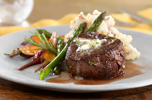Bison Filet Mignon with Smashed Potatoes