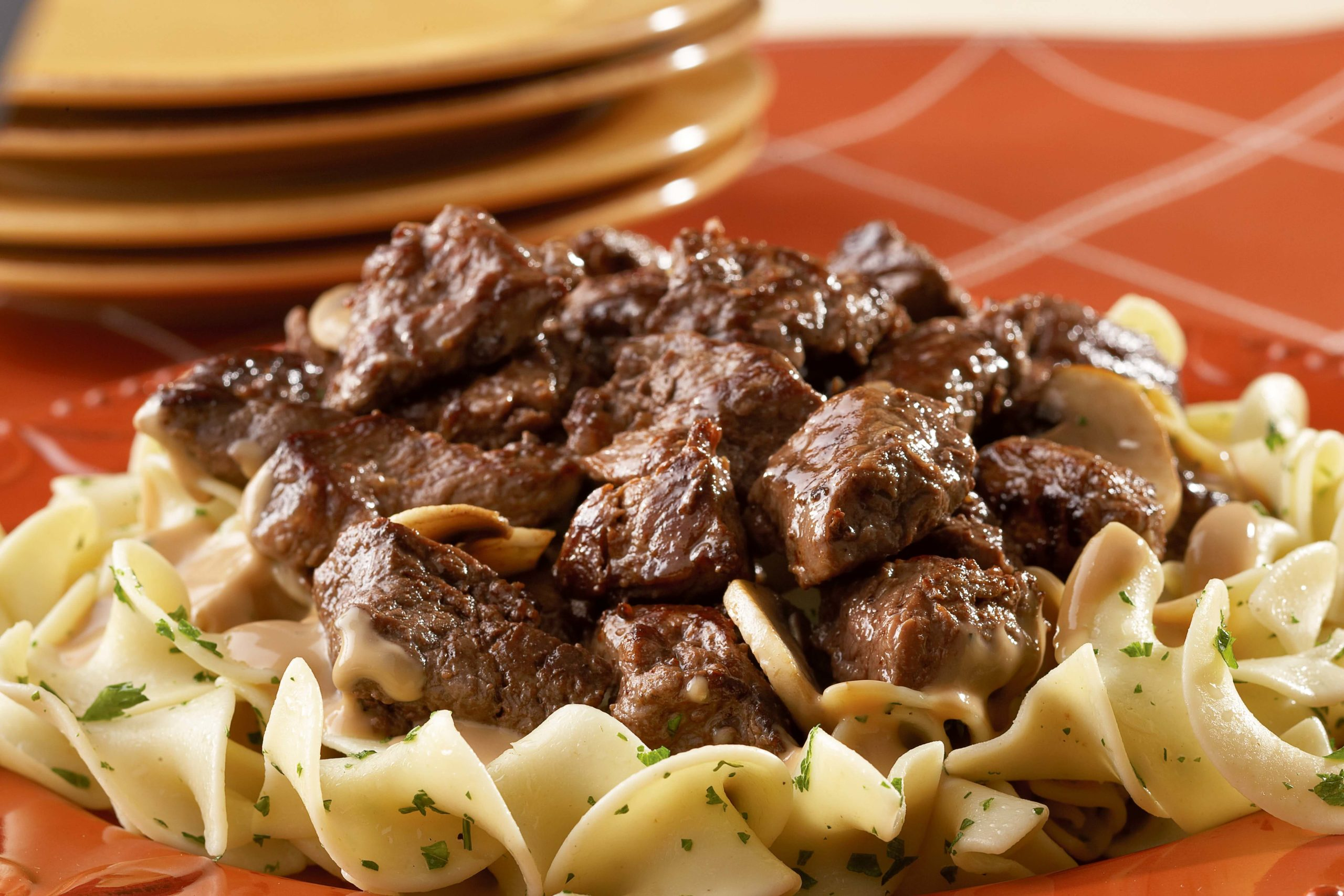 Bison Ribeye with Mushrooms and Noodles