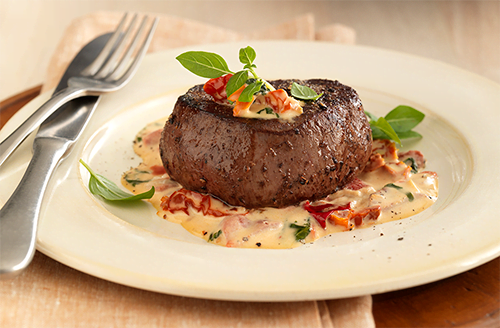 Bison Filet Mignon with Tomato Cream Sauce