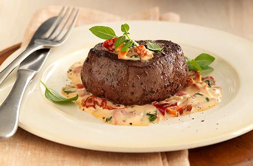 Bison Filet Mignon with Tomato Cream Sauce